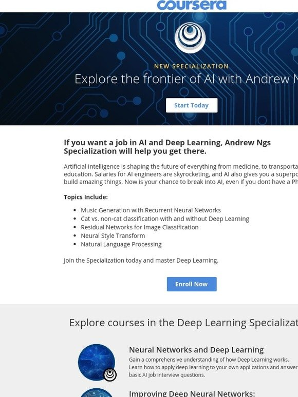 Coursera: Explore the frontier of AI with Andrew Ng | Milled