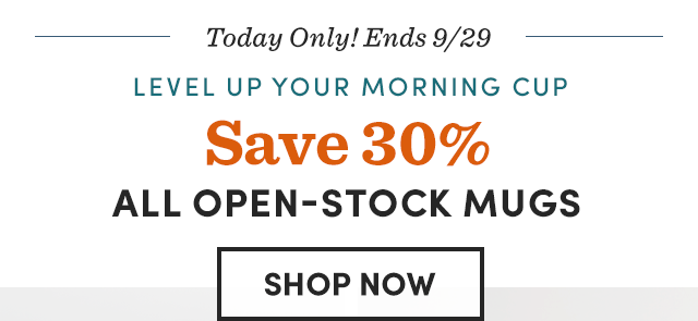 Save 30% All Open Stock Mugs. Shop Now ›