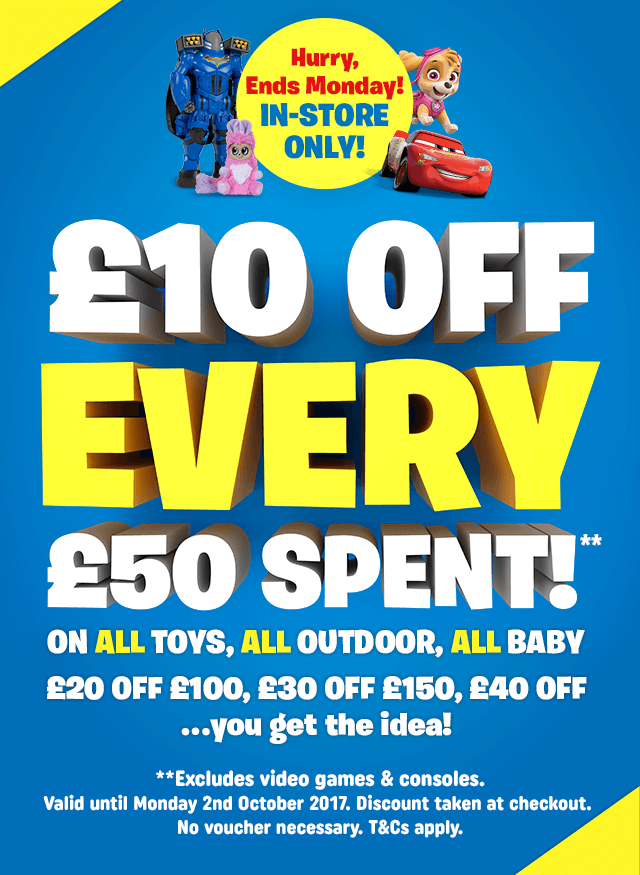 £10 Off EVERY £50 Spent In-store