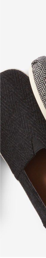 Black Herringbone Felt Men's Avalon Slip-ons