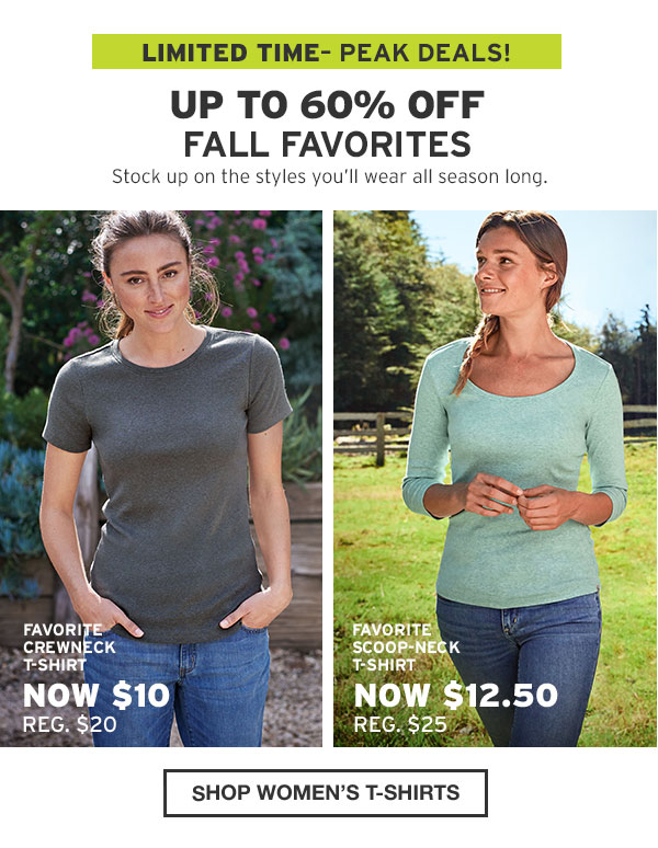 UP TO 60% OFF FALL FAVORITES | SHOP WOMEN'S T-SHIRTS