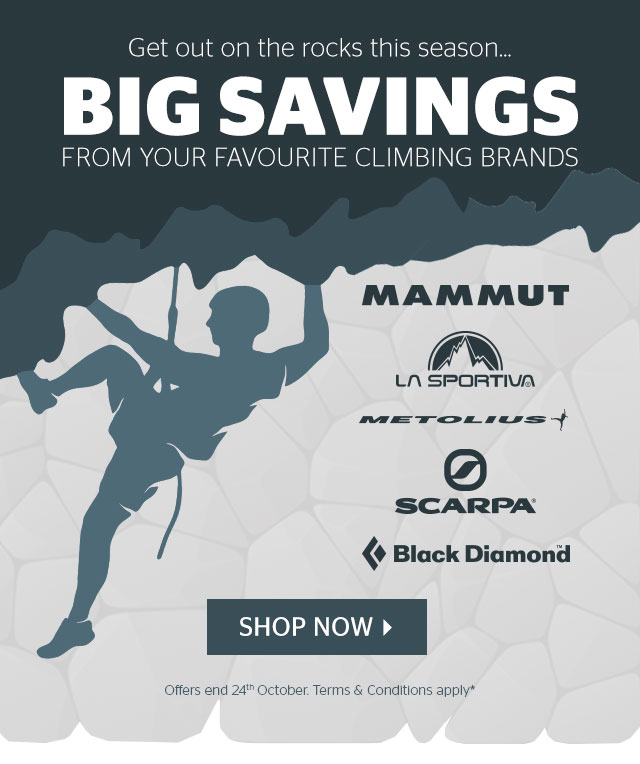 Get out on the rock this season… Big savings from your favourite climbing brands