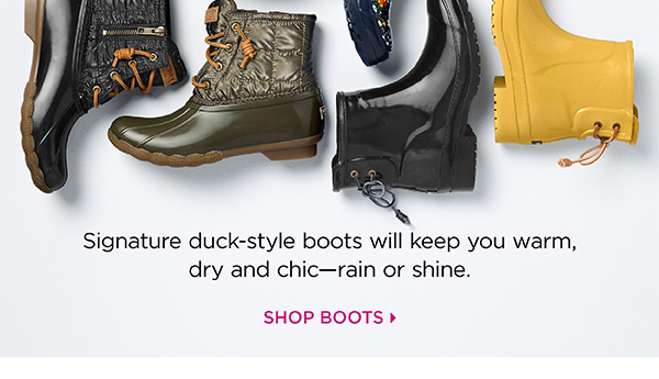 Introducing Sperry. signature duck-style boots will keep you warm, dry and chic - rain or shine. Shop Boots