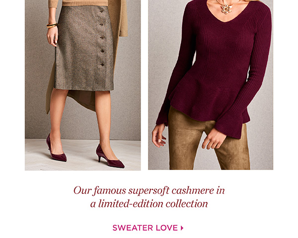 Our famous supersoft cashmere in a limited-edition collection. Shop Sweater Love