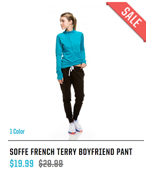 SOFFE FRENCH TERRY BOYFRIEND PANT