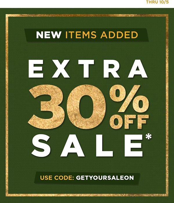 Extra 30% Off Sale! Use code GETYOURSALEON thru 10/5.