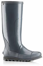 A profile view of a tall rain boot.