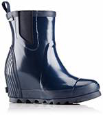 A profile view of a short rain boot.