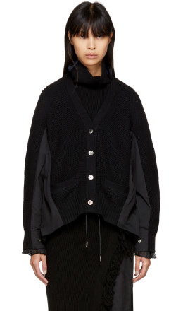 Sacai - Black Classic Shirting Cardigan