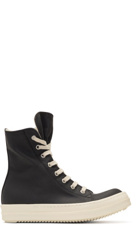 Rick Owens Drkshdw - Black Waxed Vegan High-Top Sneakers