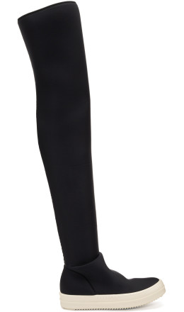 Rick Owens Drkshdw - Black Vegan Stocking Over-the-Knee Boots