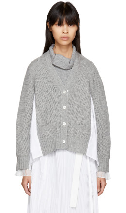 Sacai - Grey Classic Shirting Cardigan