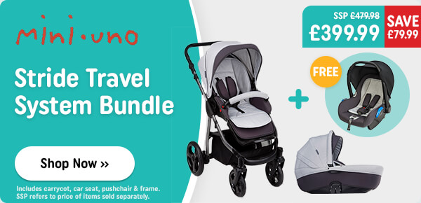 Mini Uno Stride Pushchair & Group 0+ Car Seat Bundle