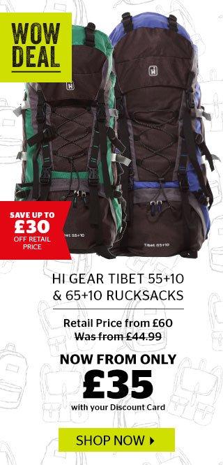 Hi Gear Tibet 55+10 & 65+10 Rucksacks