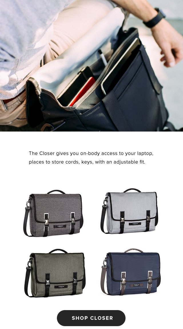 The Closer gives you on-body access to your laptop, places to store cords, keys, with an adjustable fit. | Shop Closer