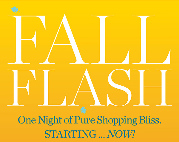 Fall Flash. One Night of Pure Shopping Bliss. Starting...Now!