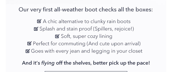 Our very first all-weather boot checks all the boxes.