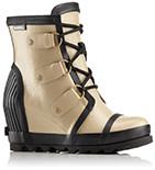A tan rain wedge boot.