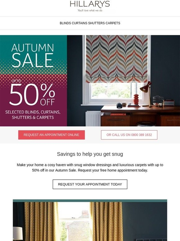 Hillarys Blinds Online >> Hillarys Blinds Get Snug With Our Autumn Sale Savings Up