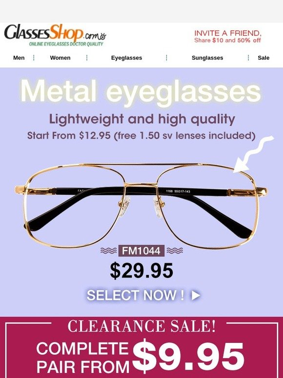 e253bed83ae4 GlassesShop.com  Metal Frames Start From  12.95! + Clearance Sale ...