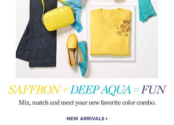 Saffron + Deep Aqua = Fun. Mix, match and meet your new favorite color combo. New Arrivals