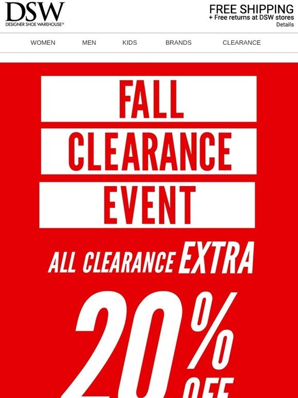 DSW: 🎉 Extra 20% off clearance + $10