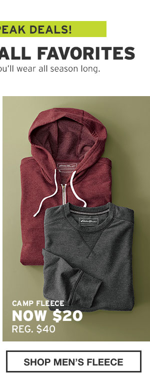 50-60% OFF FALL FAVORITES | SHOP MEN'S FLEECE