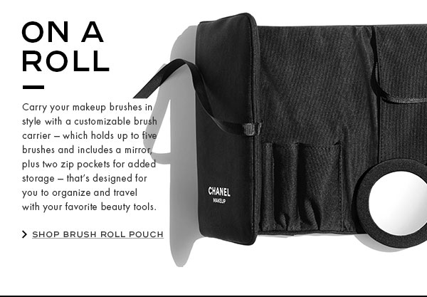 ON A ROLL. Carry your makeup brushes in style with a customizable brush carrier - which holds up to five brushes and includes a mirror, plus two zip pockets for added storage - that's designed for you to organize and travel with your favorite beauty tools.