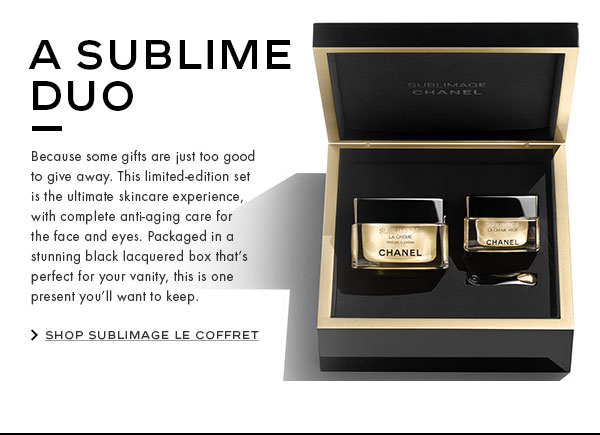 A SUBLIME DUO. Because some gifts are just too good to give away. This limited-edition set is the ultimate skincare experience, with complete anti-aging care for the face and eyes. Packaged in a stunning black lacquered box that's perfect for your vanity, this is one present you'll want to keep.