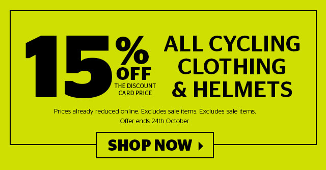 15% Off All Cycling Clothing and Helmets