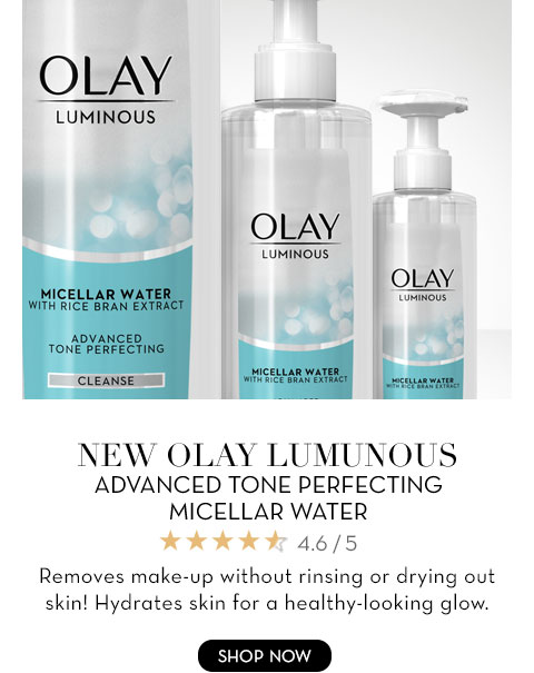 NEW OLAY LUMINOUS ADVANCED TONE PERFECTING MICELLAR WATER Removes make-up without rinsing or drying out skin! Hydrates skin for a healthy-looking glow.