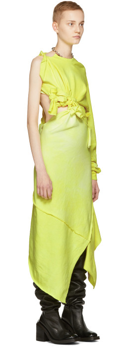 Ottolinger - Yellow One Shoulder Tied Dress