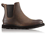 Close-up of a brown and black Madson Chelsea Waterproof Boot.