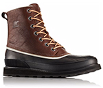 Close-up of a reddish brown and black Madson 1964 Waterproof Boot.