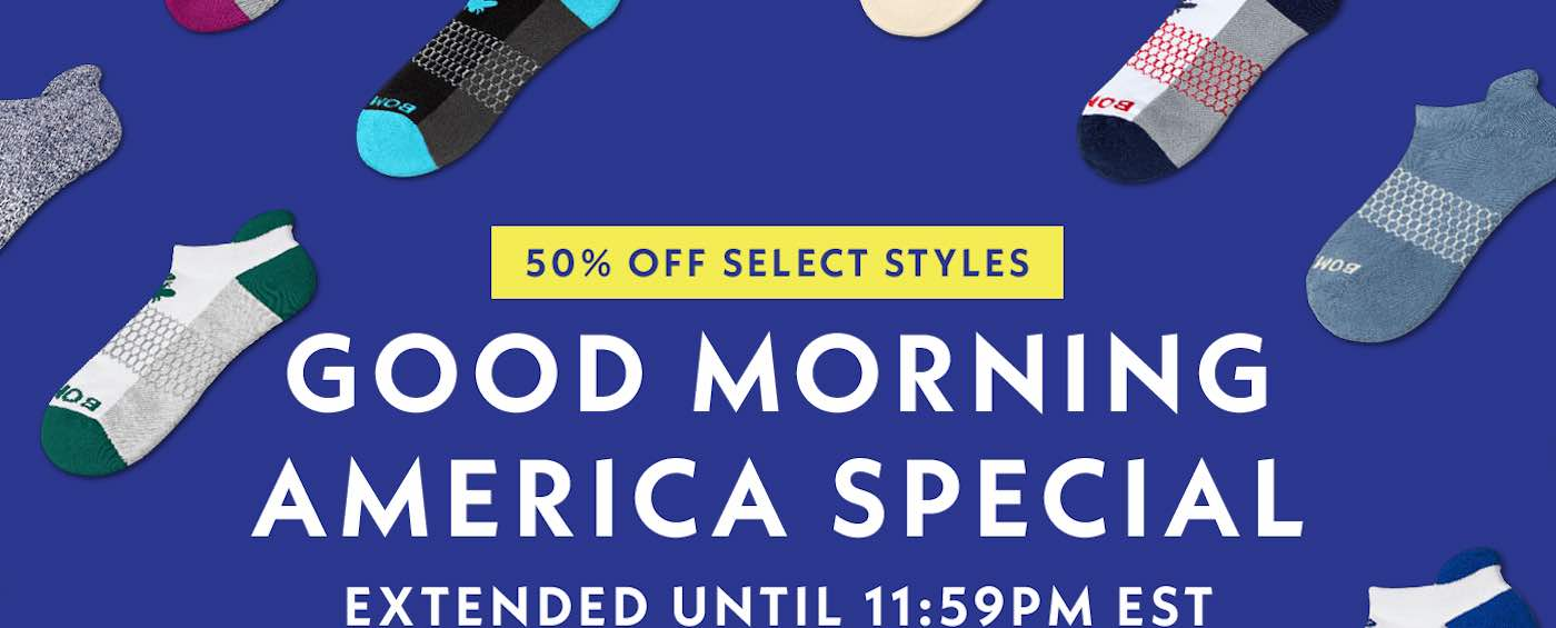 Good Morning America View Your Deal : Bombas off good morning america deal ends soon milled