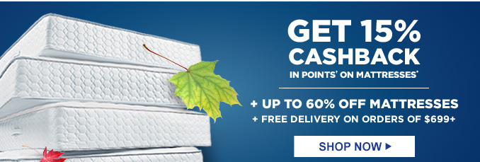 GET 15% CASHBACK IN POINTS† ON MATTRESSES* + UP TO 60% OFF MATTRESSES + FREE DELIVERY ON ORDERS OF $699+ | SHOP NOW
