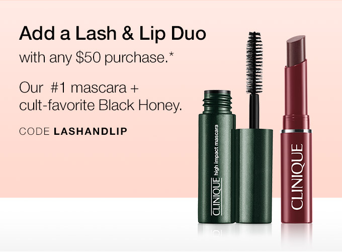 Add a Lash & Lip Duo with any $50 purchase.* Our#1 mascara + cult-favorite Black Honey. CODE LASHANDLIP
