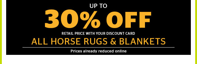 30% Off Horse Rugs & Blankets