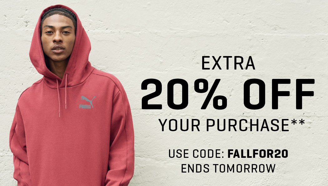 EXTRA 20% OFF YOUR PURCHASE**. USE CODE: FALLFOR20. ENDS TOMORROW.
