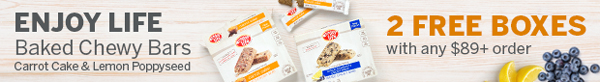 2 FREE Boxes Of 'Enjoy Life Baked Chewy Bars (Carrot Cake & Lemon Poppyseed)' With Any $89+ Purchase! (US Orders Only)