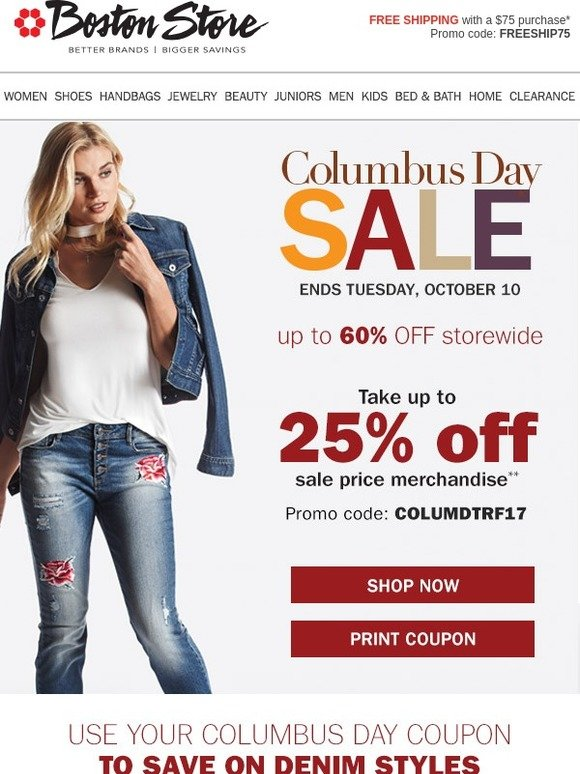 Bostonstore Com Columbus Day Sale Save On Denim For The Family