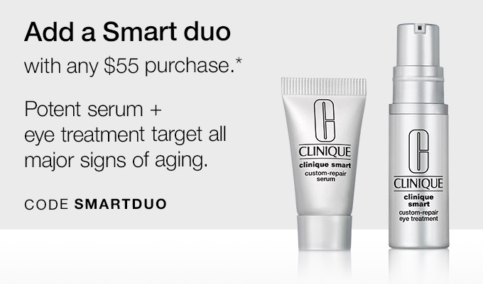 Add a Smart duo with any $55 purchase.* Potent serum + eye  treatment target all major signs of aging. CODE SMARTDUO