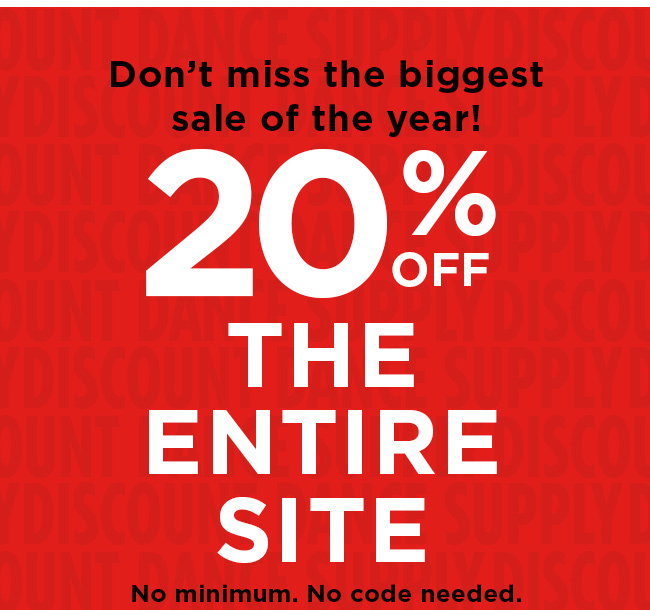 Don't miss the biggest sale of the year! 20% off the entire site. No minimum. No code needed.