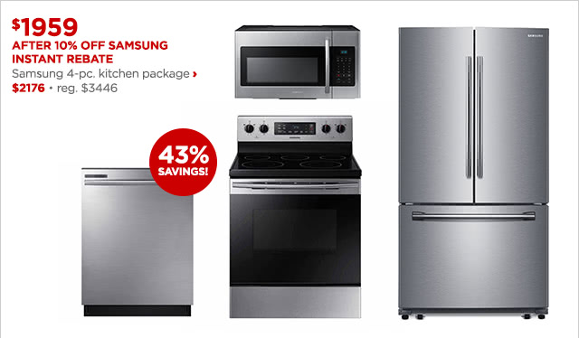 $1959 After 10% Off Samsung Instant Rebate | Samsung 4-pc. kitchen package