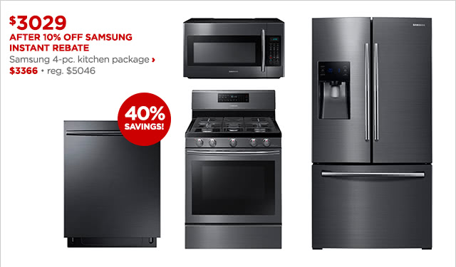 $3029 After 10% Off Samsung Instant Rebate | Samsung 4-pc. kitchen package