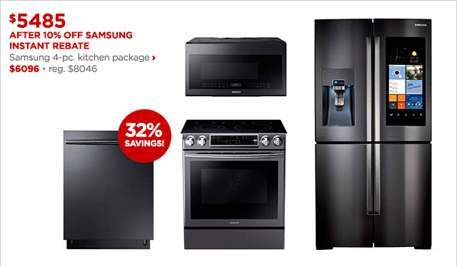 $5485 After 10% Off Samsung Instant Rebate | Samsung 4-pc. kitchen package