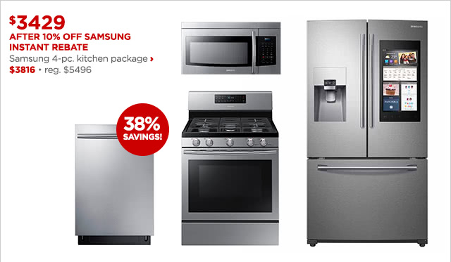 $3429 After 10% Off Samsung Instant Rebate | Samsung 4-pc. kitchen package