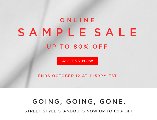 Online Sample Sale Up to 80% Off