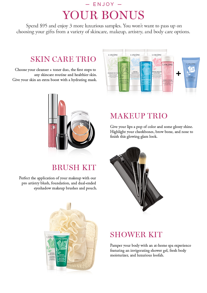 OUR ENJOY YOUR BONUS | SKIN CARE TRIO | MAKEUP TRIO | BRUSH KIT | SHOWER KIT