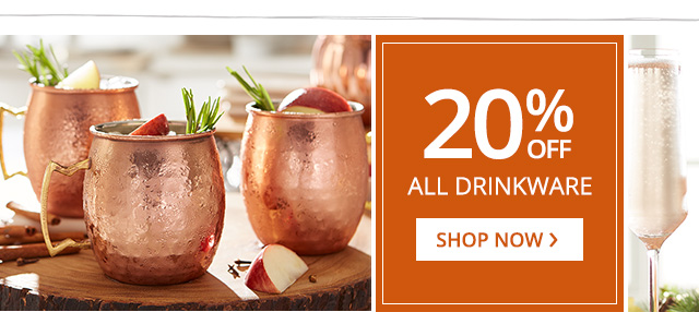Up to 20% off all drinkware. Shop now.